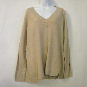 Susina Nordstrom sweater 2X NWT Cream Beige V-neck pullover Stretch womens NEW
